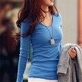 Новый 2015 зима осень женщины леди хлопок основные Футболка случайные твердого футболка ти топ свободные V-образным Вырезом мода длинным рукавом S ~ XXL
