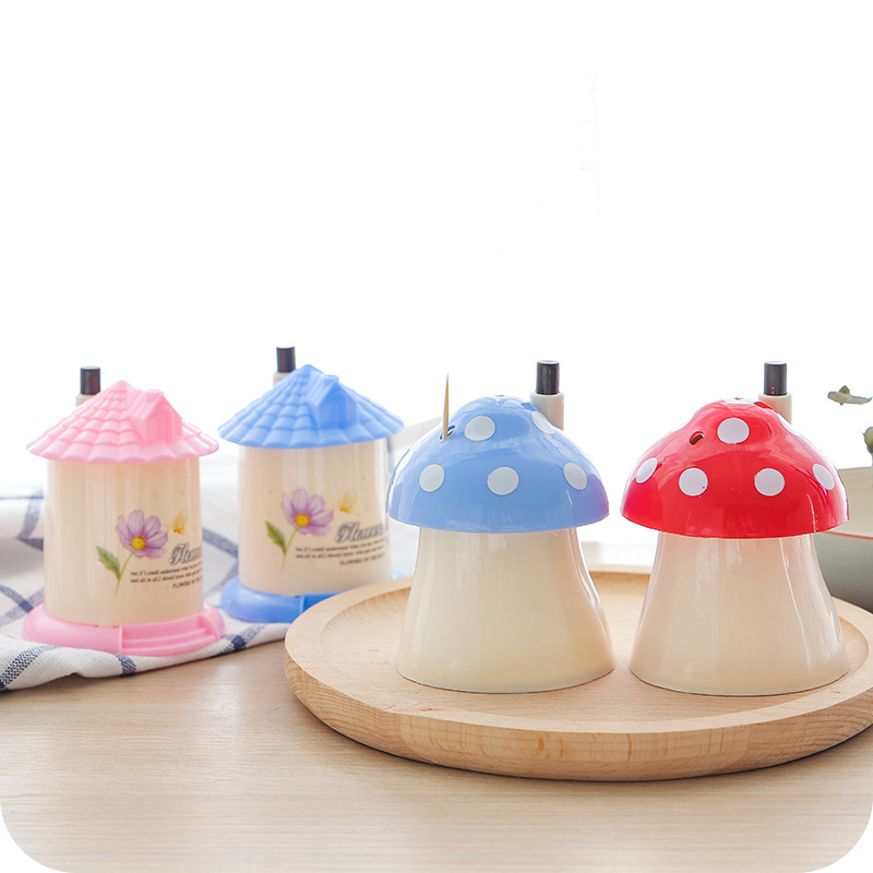 2018 Sale Cartoon Automatic Toothpick Holder Pocket Fashion Small Portable House Mushroom Shaped Creative Toothpick Box F2626