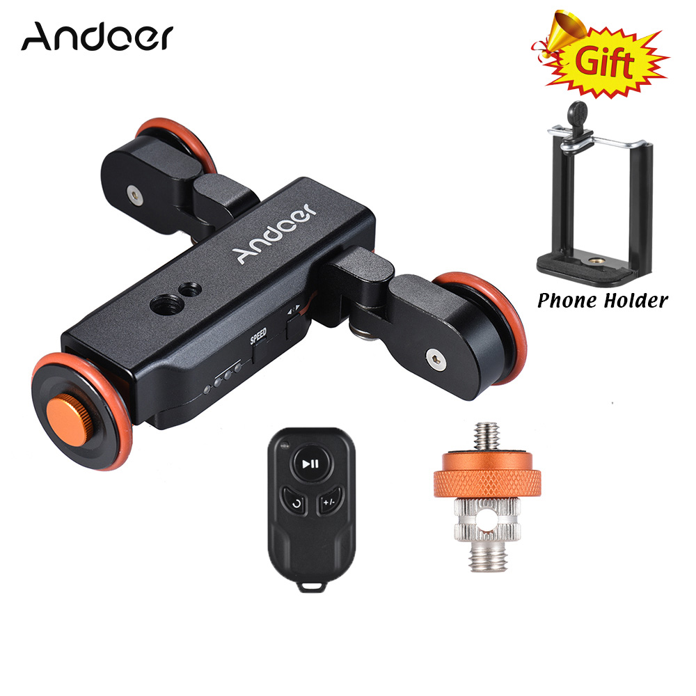 Andoer L4 Autodolly 3 Speed Adjustable Remote Control Electric Motorized 3-Wheel