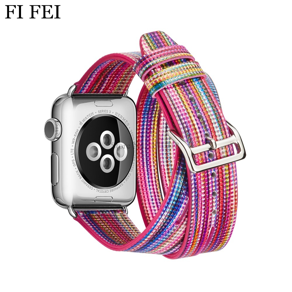 FI FEI Multicolor Genuine Leather Band Double Tour Bracelet Strap Replacement Watchband For Apple Watch Series 1 2 3 38mm 42mm kakapi crocodile skin genuine leather watchband with connector for apple watch 38mm series 2 series 1 pink