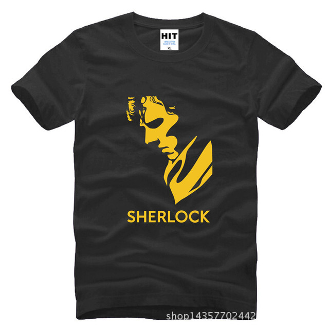 TV SHOW Charater Sherlock Holmes T Shirt Mens Men Fashion Tshirt 2016 New Short Sleeve Cotton T-shirt Tee Camisetas Hombre