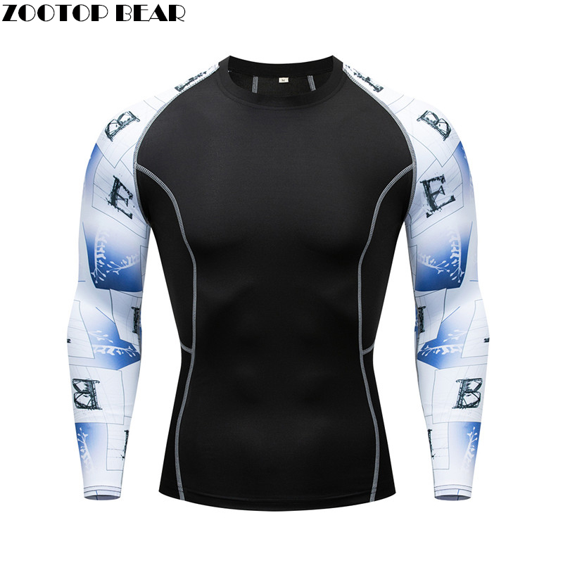 New Rashgard Mens Long Sleeve Run Tights T-shirt Sports Men's Running Fitness Sportswear Basketball Jersey Men Compression Shirt
