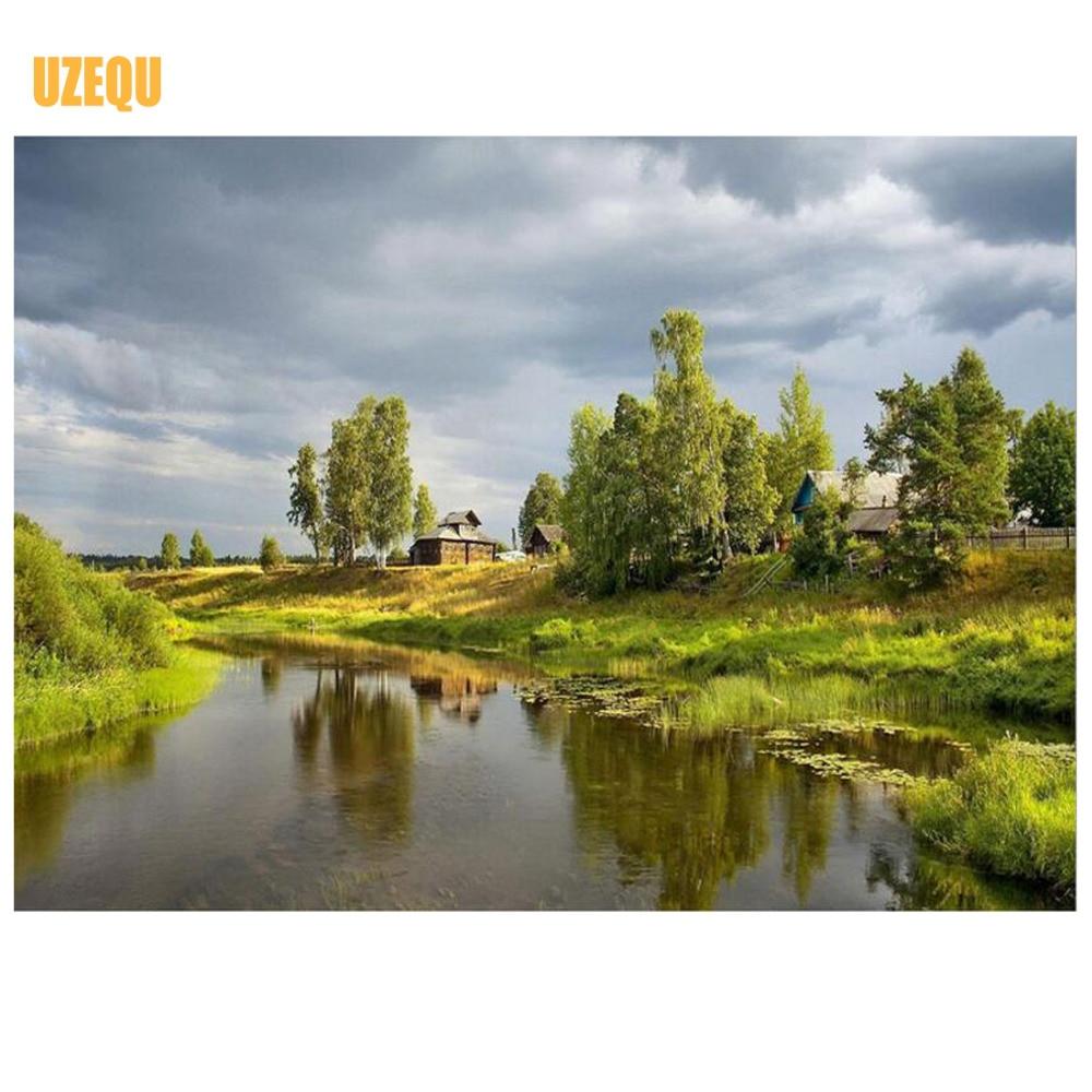 UzeQu Full Diamond siuvinėjimo upė 5D DIY deimantinis tapyba - Menai, amatai ir siuvimas - Nuotrauka 1