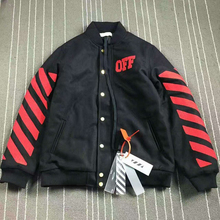 2016 Off-White Winter Thick Tartan Jacket Hiphop Men Cotton-padded Jacket Coat Red Striped Embroider OFF White C/o Virgil Abloh