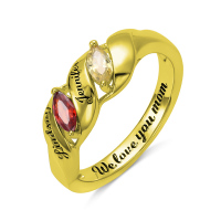 Wholesale Gold color Ring Stone Rings For Women Jewelry Personalized Name Birthstone Rings with Inside Engraving