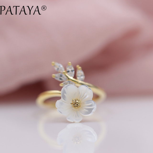 PATAYA Merry Christmas New Year Gift Fashion Gold Jewelry True White Gold Shell Flowers Natural Zirconia Up Open Rings For Women