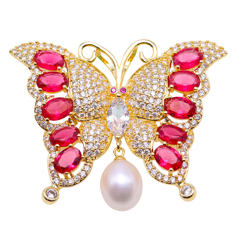 купить JYX fine jewlry 9.5*11mm pure freshwater White rice shape Pearl Brooch, butterfly pendant shining brooch недорого