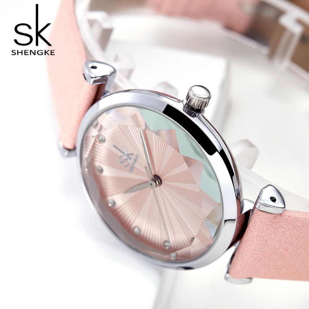 Shengke Luxury Diamond Cutting Watch Women Fashion SK Watch Women's Watches Top Brand Ladies Watch Leather Clock Reloj Mujer