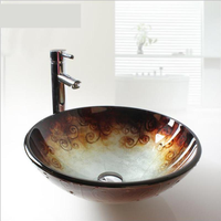 Tempered Glass Washbasin Bathroom Sculpture Retro Personality rose pattern glass sink bowls bathroom LO629238