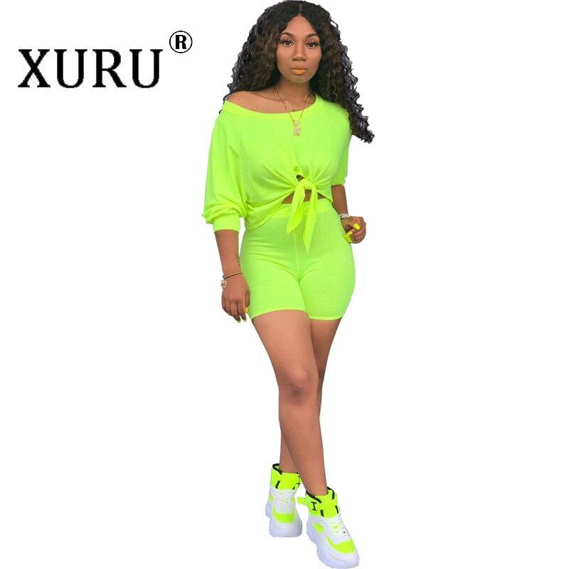 XURU summer new women's   jumpsuit   two-piece fashion off-the-shoulder romper shorts suit