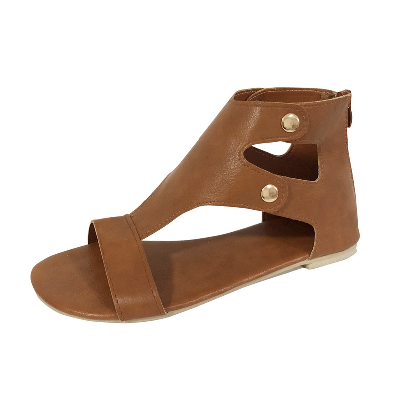 Hot Deal Summer Ladies Women PU Leather Sandals Fashion Flat Roman Shoes Ladies Casual Zipper Pure Color Shoes chaussures femme cheap hot women shoes 2018 summer women flat white shoes comfortable breathable super soft pu leather lace ladies casual shoes