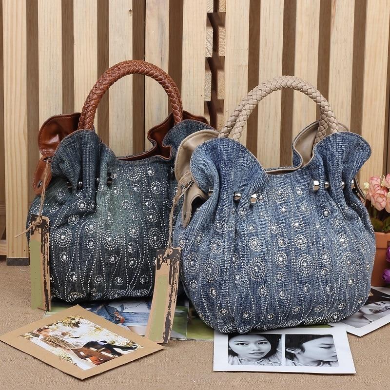 New Vintage Hobos Fashion bolsa feminina Beads Appliques Denim Jean Women HandBags Evening Bags Tote For Female Free Shipping 2016 new hobos 100