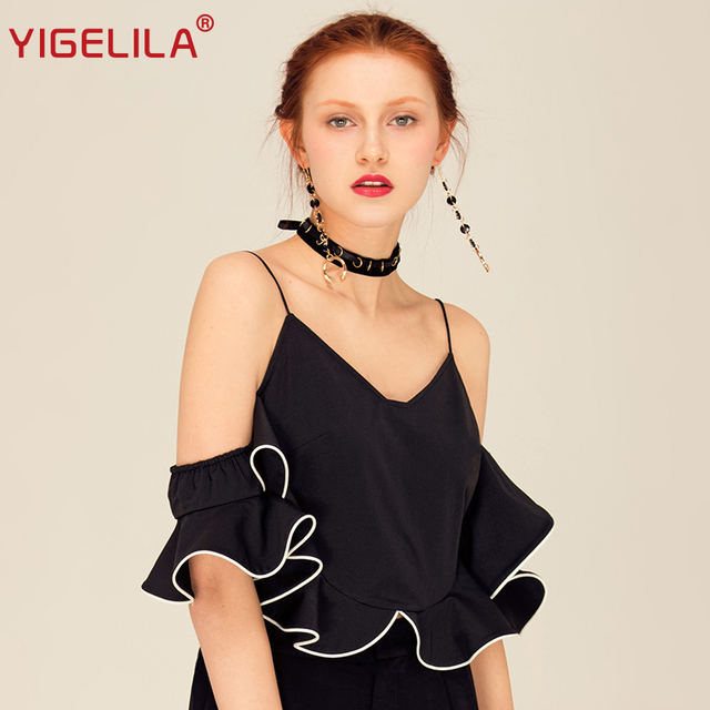 806588484706 YIGELILA Brand 7427 Latest New Women Fashion Sexy Off Shoulder Ruffle  Spaghetti Strap Black Top