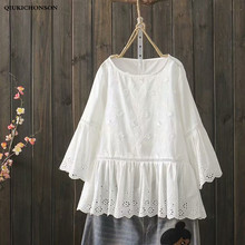 Womens Tops and Blouses Summer 3D Three-dimensional Flower Hollow Out Embroidery White Shirt Flare Sleeve Ruffle Babydoll Blouse flounce sleeve gingham babydoll blouse