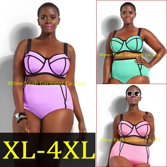 263aaa67211d7 2015 XL-4XL Secret Hot Pink Plus Size Bikini Set High Waist Push Up Big Size  Swimsuit Swimwear Large Size Bikini Tocas Feminina