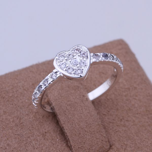 Free Shipping 925 jewelry silver plated Ring Fashion Inlaid Zircon love Heart Ri