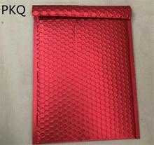 50 pcs/lot papier daluminium rouge bulle enveloppe rembourré expédition sacs grand bulle Mailer cadeau sac emballage Wrap utilisable espace 25x32 cm