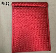 50 unids/lote papel de aluminio rojo burbuja sobre acolchado Shiipping bolsas gran burbuja Mailer embalaje de bolsa para regalo envolver espacio utilizable 25x32cm