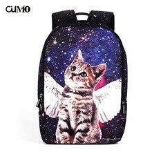 Ou Mo brand Cat Print teenagers Boys/Girls Cartoon Schoolbag computer laptop anti theft backpack feminina Women Bag man