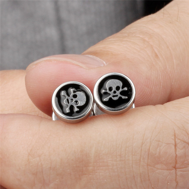 STAINLESS STEEL SKULL CROSS BONES EARRING