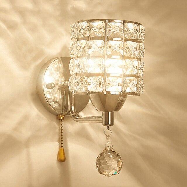 2018 Crystal Luminaria Ac85 265v Wall Lights Pull Chain Switch Living Room Wal Lamp Lampshade