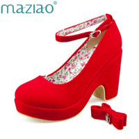 MAZIAO Low Price New Sexy Women Fashion Cute Cat Face Buckle Shoes Vogue Wedges RED APRICOT BLACK High Heels Platform Pumps