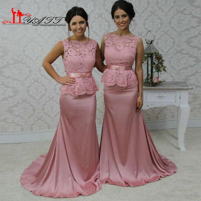 2017 Pink Mermaid Bridesmaid Dresses Lace Sash Floor Length Custom Made  Bridemaid Gowns Plus Size Long Maid of Honor Gowns ff284cd3f327