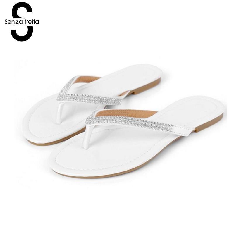 Senza Fretta Summer Women Sandals Flip Flop Fashion Rhinestone Flat Slippers Flip Flops Sandals Casual Shiny Flip Flops Women холодильник sharp sj xe55pmwh двухкамерный белый жемчуг