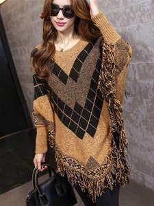 Liva Girl осень зима свитер женский пончо джемпер пуловер вязание женские свитера и пуловеры туника бохо женская одежда больших размеров накид...