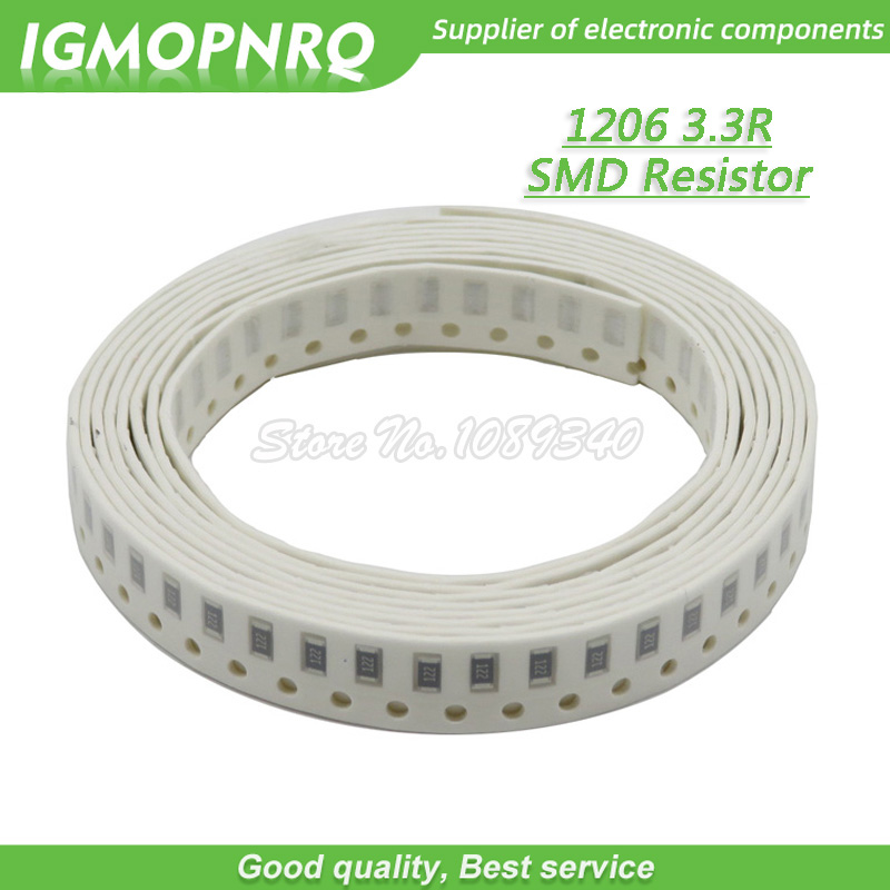 100pcs//lot 1206 SMD Resistor 1/% 3.3 ohm chip Resistor 0.25W 1//4W 3.3R 3R3