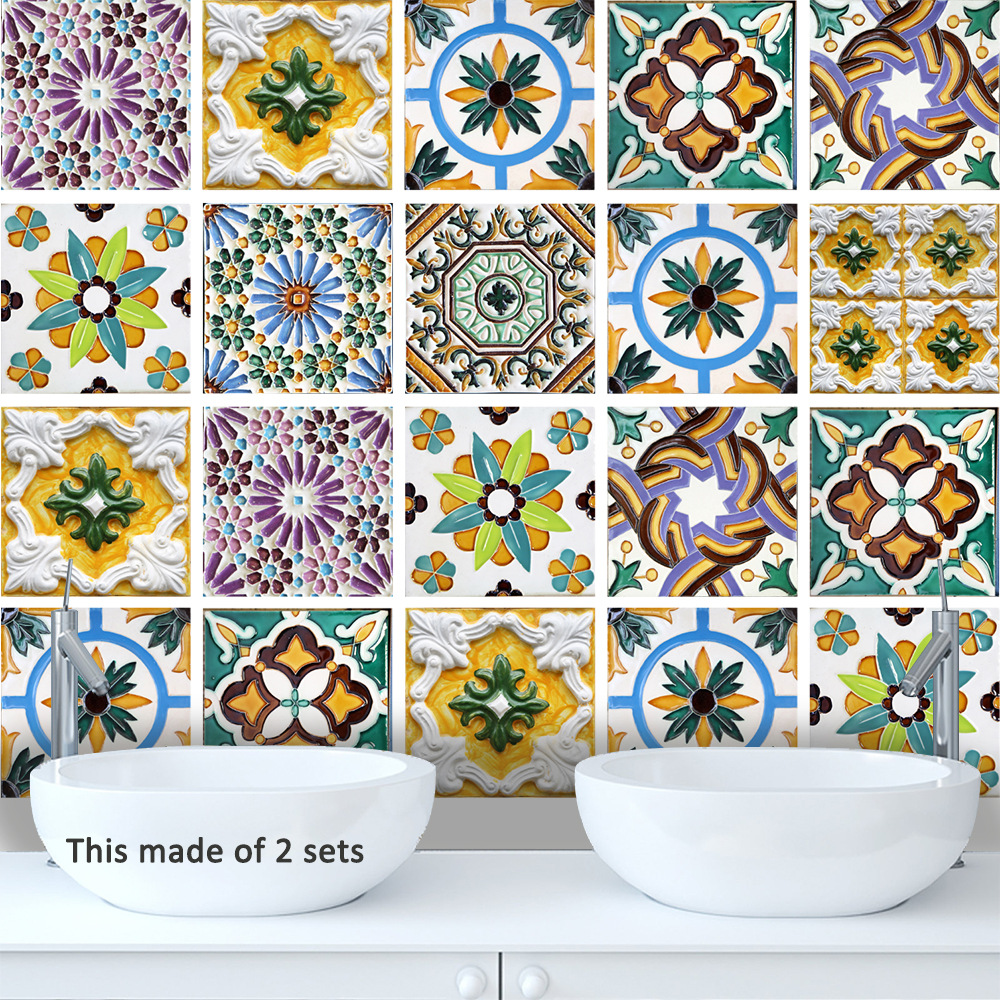 Funlife Porto Tile Wall Stickers,Art Decal Home Decor Tile Sticker for Bathroom,DIY Self-adhesive Waterproof Removable Stickers