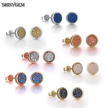 ShinyGem One Week Jewelry Earrings For Women 6mm Round Natural Druzy Crystal Stud Gold/Silver/Rose Gold 7 Pairs Earring