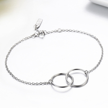Slim 925 Sterling Silver Double Round Circles Infinity Chain Bracelets Pulseras Pulseira Accessoires Bracelete Women Best Friend