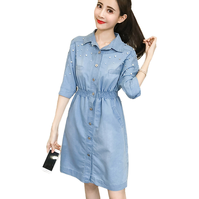 Fashion Sexy Denim Dresses Women Summer Turn-down Collar Pearl Beading Jeans  Dress Casual Boho Shirt Dress vestidos robe femme d8453653f7e6