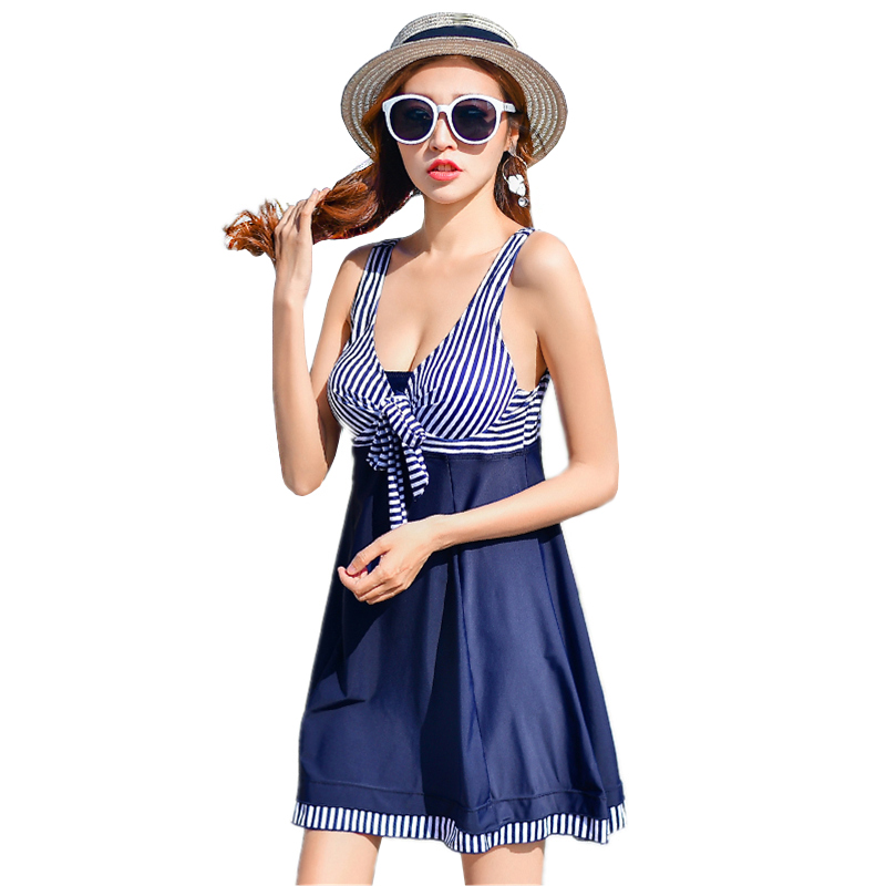 Stripes Bathing Suit Female Plus Size Swimwear Swim Dress Navy Blue Summer Swimming Suit for Women One Piece Swimsuit Push Up women large size swimsuit one piece swimwear women bathing suit hot sale summer beach swim dress cover up swimming bathing suit