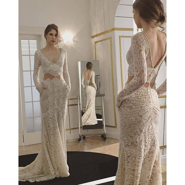 Elegant Beige Wedding Dresses 2017 V Neck Long Sleeve Lace Pearls Slim Boho Guest Gown