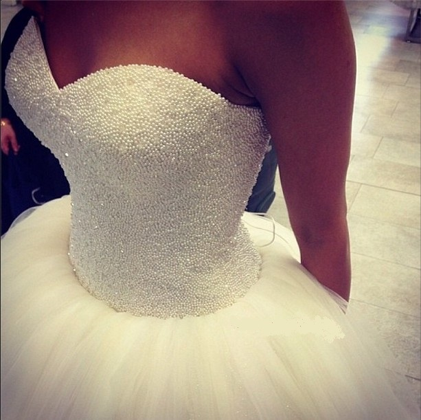 Strapless Floor Length Corset Back Sweetheart Neckline Pearls Tulle ...