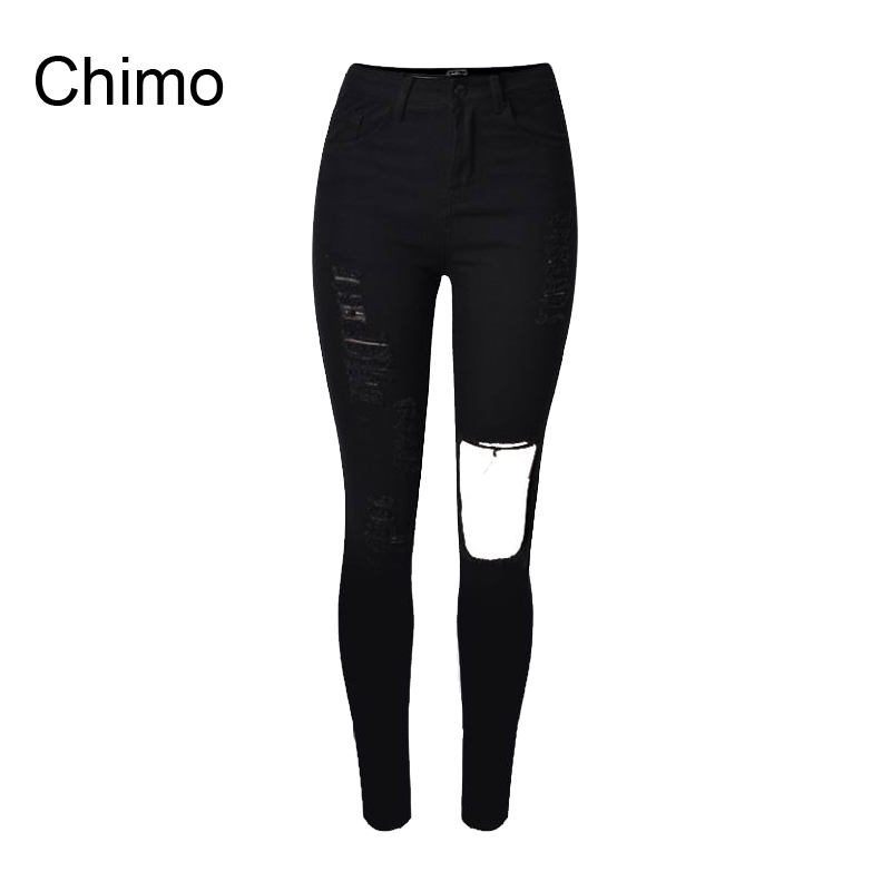 ФОТО 2017 Cotton High Elastic Jeans Woman Knee Skinny Pencil Pants Slim Ripped Boyfriend Jeans For Women Black Ripped Jeans