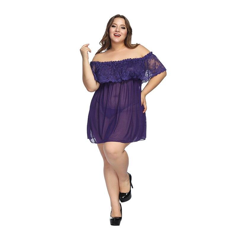 6XL plus size women Lace Nightdress Ladies Sexy Sleepwear Babydolls   sleepshirts   lingerie Pyjama Femme Home Suit