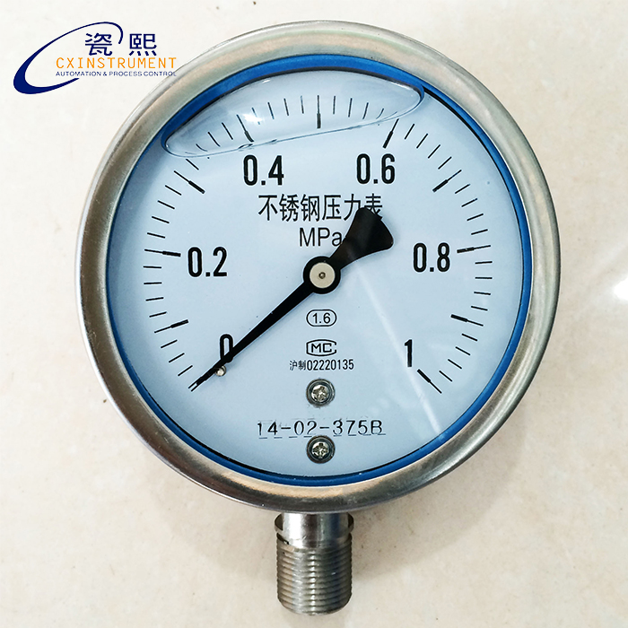Pressure Measuring Instruments : Stainless pressure gauge with mpa measuring range