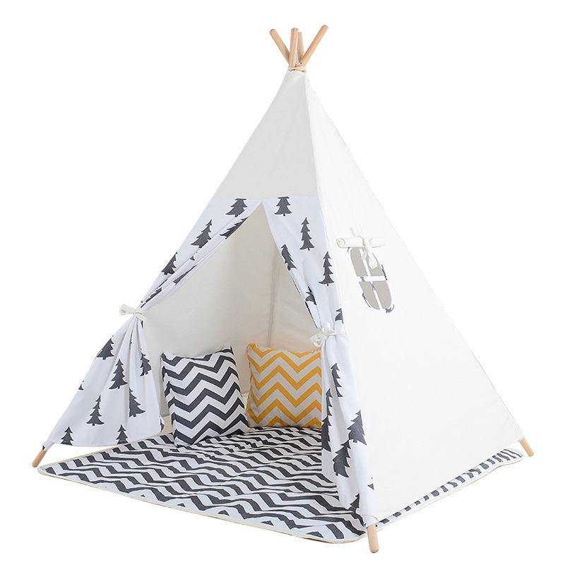 Children Teepee Kids Cotton Canvas Tipi Tents 4 Wooden Poles Play Tent For Baby House Foldable Child Toys Tent Indian Tipi best selling child toy tents tipi kids game house girl princess play tent teepee children house indoor outdoor toy tents