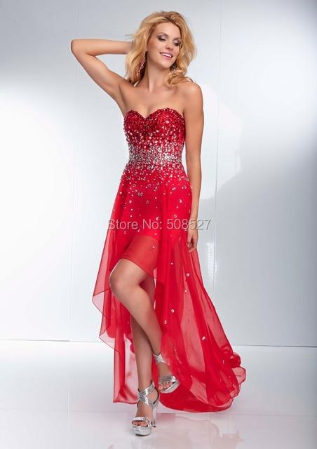 2016 Por Encargo de la Gasa Roja de Lujo Que Rebordea Sequined Crystal Alto Bajo Vestido de Fiesta Vestido de Fiesta Formal