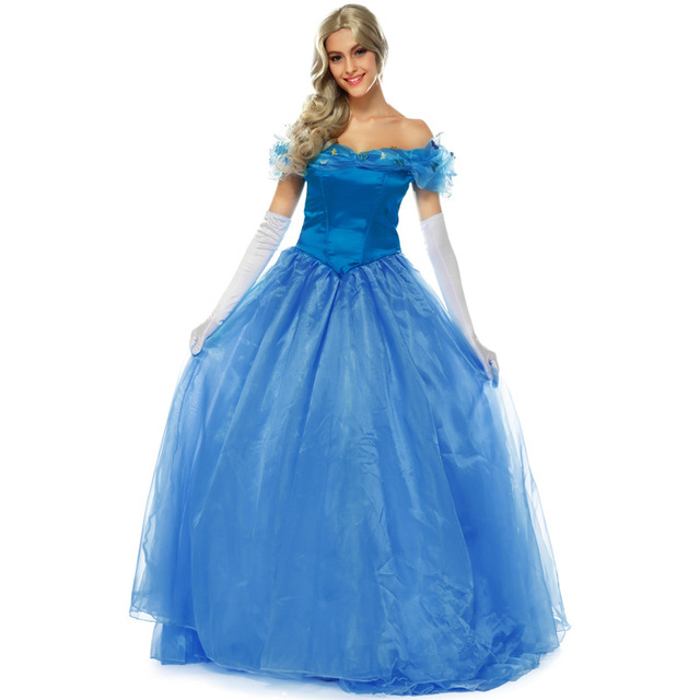 Cinderella Blue Adult Princess Dress Women Halloween Cosplay Costume  Beautiful Lady Party Dresses 2d7519f5bc97