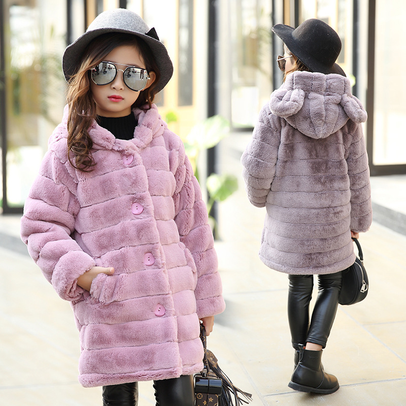 2017 children's clothing warm jacket girl children's jacket jacket solid color thickening warm hood long hair coat 5-14 Y 7 2015 new mori girl medium long thickening with a hood color block decoration cotton padded jacket wadded jacket