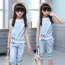 2018 new summer baby girl clothes suit fashion thin denim body kids jean clothing sets childrens suits for