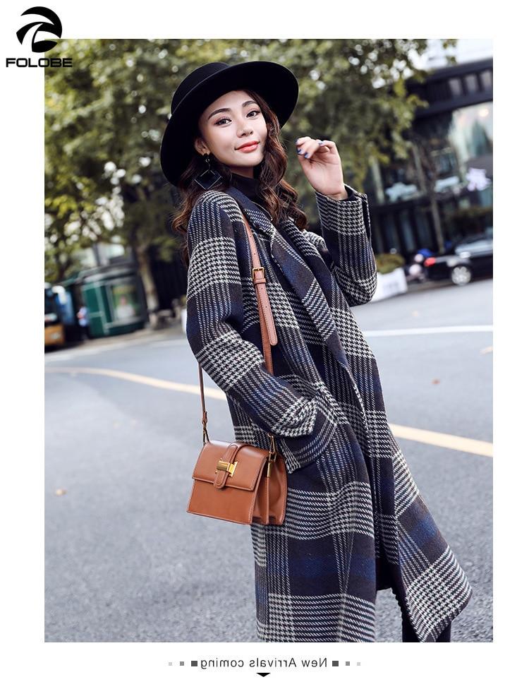 Femelle Manteau Long Femmes Slim À D'hiver De Mélange Color Mode Vestes Carreaux Hiver Picture Folobe Laine Outwear 2018 Type UVMGSpqz