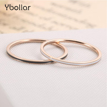 цена на 1mm Thin Ring Black White Red Enamel Titanium Stainless Steel Rings For Women Girls Rose Gold Round Knuckle Finger Ring Jewelry