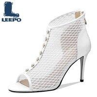 Bottines d'été pour femmes de luxe Peep orteil talons hauts perforé noir blanc Net bottes femme maille creuse chaussons chaussures