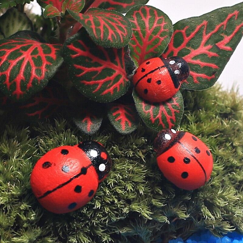 Lovely 100pcs Wooden Ladybug Sticker Miniature Garden Bonsai Decor Diy Mini Ladybird Terrific Value Decorative Collectibles Miniatures