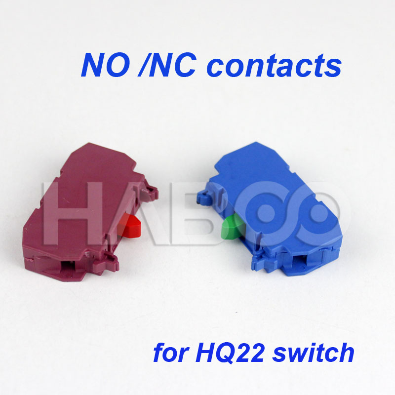 10PCS/LOT NO/NC contacts for HABOO HQ22MM PUSH BUTTON SWITCH red color/blue color ...